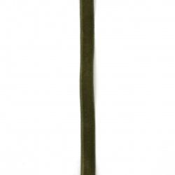 Лента кадифе 10 мм зелена маслинена -3 метра