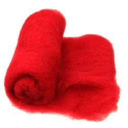 Wool felt merino for non-wovens, for making clothes, jewelry and accessories m700x600 mm extra quality red -50 grams