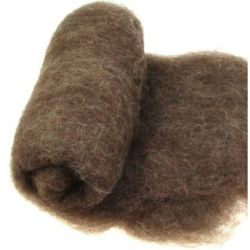 Wool felt merino for non-wovens, for making clothes, jewelry and accessories m 700x600 mm extra quality brown -50 grams