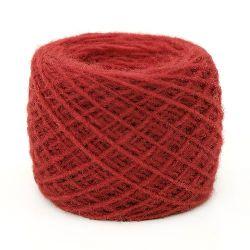 Прежда вълна 2 мм 1x1ката червена -100 грама