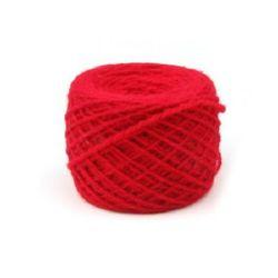 Прежда вълна 3 мм 2x2 ката червена -100 грама