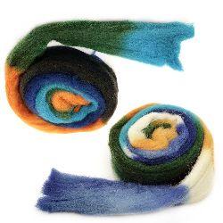 Прежда ВЪЛНА филц лента меланж бяло, жълто, оранжево, зелено ,синьо -50 грама ~1.8 метра