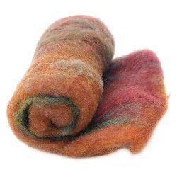 ВЪЛНА 100 процента Филц 700x600 мм микс червено,оранжево,синьо,розово -50 грама
