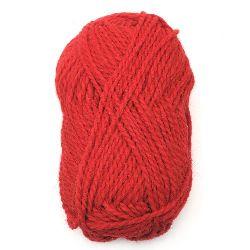 Прежда ЛОТО червена 50 процента вълна 50 процента акрил 100 грама -110 метра
