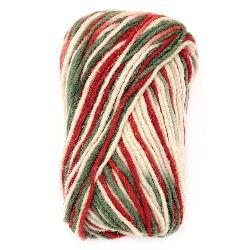 Прежда ХОРО бяло, зелено, червено 100 процента вълна -100 грама -130 метра