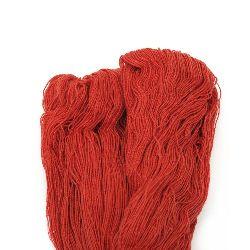 Прежда памук немерсеризиран Зора червена 100 грама -1000 метра