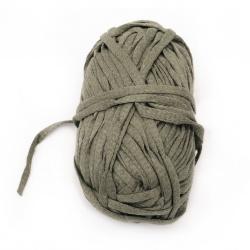 Прежда лентовидна 7-8 мм 80 процента памук 20 процента полиестер зелена 100 грама- 50 метра