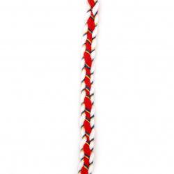 Пресукано мартеница Фолклор 100 процента акрил 10 мм -бяло,червено,синьо,жълто - 15 метра