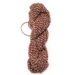 Прежда пресукана бяло,червено,сиво 100 процента вълна -100 грама -110 метра