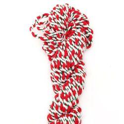 Пресукано мартеница Фолклор 100 процента акрил 5 мм -бяло,зелено,червено - 15 метра
