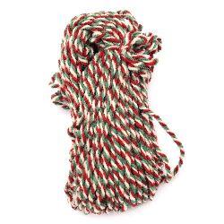 Прежда вълна три ката бяло ,зелено ,червено -100 грама