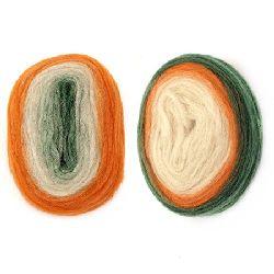 Прежда ЖИВА ВЪЛНА МИКС бяло,оранжево,зелено -25 грама