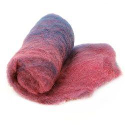 ВЪЛНА 100 процента Филц за нетъкан текстил 700x600 мм екстра качество меланж розово, синьо -50 грама