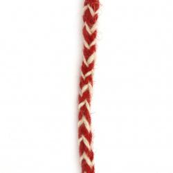 Шнур/за мартеници/ плосък плитка 6 мм 100 процента вълна цвят червен, бял-3 метра