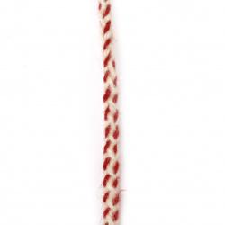 Шнур плосък плитка 8 мм 100 процента вълна цвят бял, червен -3 метра