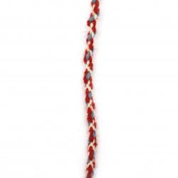 Шнур объл 5 мм 100 процента вълна цвят бял, червен, син -3 метра