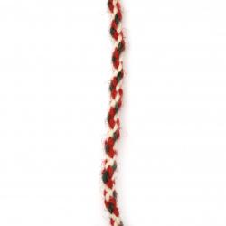 Объл шнур5 мм 100 процента вълна цвят бял, червен, зелен -3 метра
