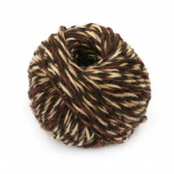 Прежда АНТИК 55 % вълна 45 % памук цвят кафяв, бежов 50 грама -100 метра