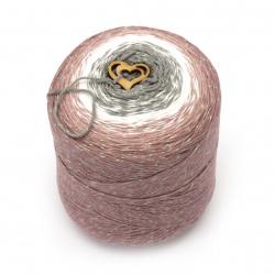 Прежда КЕНДИ ОПАЛ цвят сив, бял, розов 85 % мек памук 15 % ламе -900 метра -300 грама
