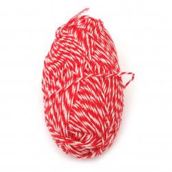 Прежда ТЕРА НОВА бяло, червено 50 грама- 160 метра