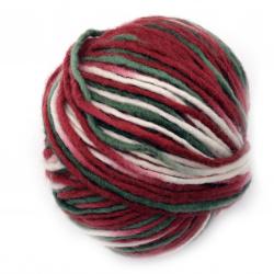 Прежда РИЛА 60 процента вълна 40 процента акрил бяло, зелено, червено 110 метра - 100 грама