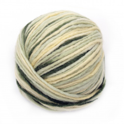 Прежда РИЛА 60 процента вълна 40 процента акрил бледо жълто , мента , зелено 110 метра - 100 грама