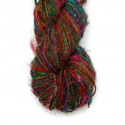 Прежда ХОЛИ 100 процента естествена коприна цвят многоцветен -90 метра -100 грама