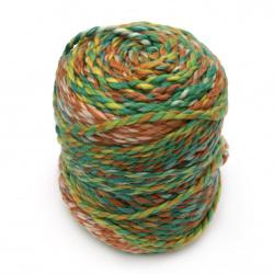 Прежда ЦВЕТНИ ВЪЛНИ цвят оранжево и зелено 20 % вълна 80 % акрил -160 метра -200 грама
