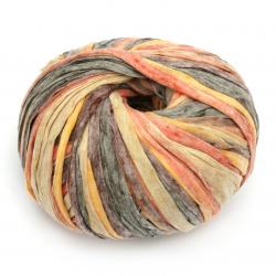 Прежда УОШИ ПРИНТ цвят оранжев меланж 70 % полиестер 30 % вискоза -100 метра -100 грама