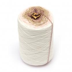 Прежда КЕНДИ цвят розов, пудра меланж 100 % мек памук -900 метра -280 грама