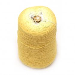 Прежда КОТЪН КЕЙК цвят жълт меланж 100 % натурален мек памук  -1000 метра -250 грама