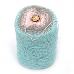 Прежда КОТЪН КЕЙК цвят син, сив, розов меланж 100 % натурален мек памук  -1000 метра -250 грама