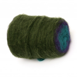 Yarn MINI PUDDING color olive, oil, purple 30% wool 10% mohair 30% acrylic 30% polyester -250 meters -200 grams