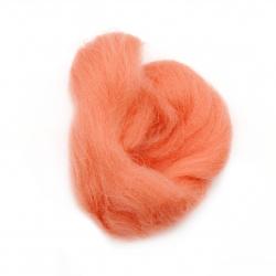 Филц вълна 100 процента МЕРИНО 66S-21 микрона цвят корал -4~5 грама