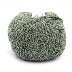 Прежда WOOLY COTTON 57 % памук 43 % суперуош мерино цвят зелен меланж 50 грама -140 метра