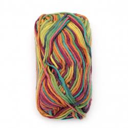 Прежда LINEN TOUCH 80 % памук 20 % лен цвят дъга 50 грама -65 метра