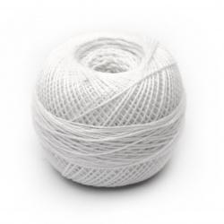Прежда КОТОН ПЕРЛЕ 100 % памук мерсеризиран, газиран, пениран цвят бял 25 грама -175 метра