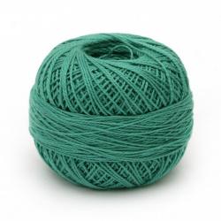 Прежда КОТОН ПЕРЛЕ 100 % памук мерсеризиран, газиран, пениран цвят зелен 25 грама -175 метра