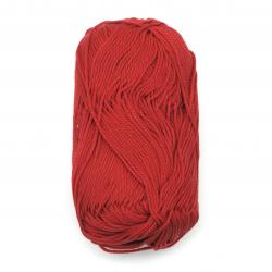Прежда COTTON QUEEN 100 % натурален памук цвят червен 50 грама -125 метра