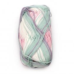 Прежда COTTON QUEEN MULTI JACQUARD 100 % памук цвят бял, розов, лилав, мента меланж 50 грама -125 метра