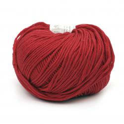 Прежда COTTON GEM 100 % памук газиран, мерсеризиран цвят червен 50 грама -95 метра