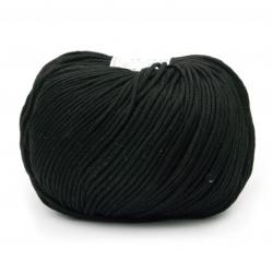 Прежда COTTON GEM 100 % памук газиран, мерсеризиран цвят черен 50 грама -95 метра