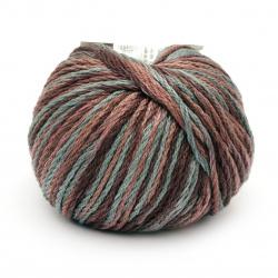 Прежда COTTON SPARKLE 85 % памук 15 % вискоза цвят кафяв, син меланж 50 грама -75 метра