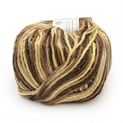 Прежда COTTON SPARKLE 85 % памук 15 % вискоза цвят кафяв, жълт меланж 50 грама -75 метра