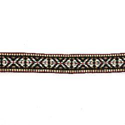 Ширит 25 мм черен с бяло червено зелено и кафяво -5 метра
