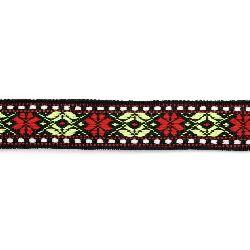 Ширит 24 мм черен с червени цветя -5 метра