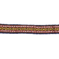 Banda 17 mm albastru cu galben și verde -5 metri