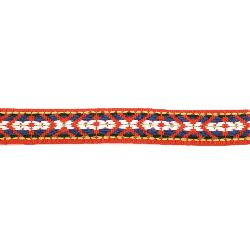 Banda de 17 mm roșu cu alb și albastru -5 metri