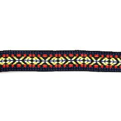 Ширит 24 мм черен с червено,жълто и синьо -5 метра