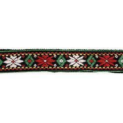 Ширит 26 мм черен с бели и червени цветя -5 метра